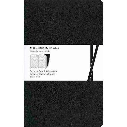 Moleskine Volant Notebook (Set of 2 ), Large, Ruled, Black, Soft Cover (5 x 8.25)