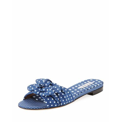 TABITHA SIMMONS Cleo Polka-Dot Bow Flat Slide Sandal