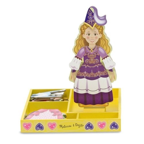 Melissa & Doug Deluxe Princess Elise Magnetic Wooden Dress-Up Doll Play Set (24 pcs)