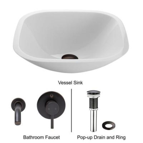 VIGO Square Shaped Stone Glass Vessel Sink in White Phoenix with Wall-Mount Faucet Set in Antique Rubbed Bronze