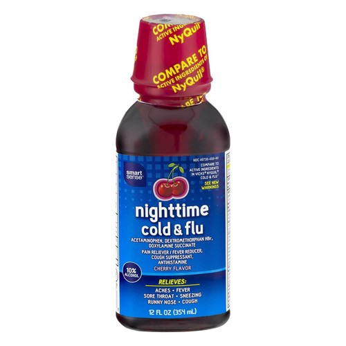 Smart Sense Nighttime Cold & Flu Cherry Flavor 12.0 FL OZ