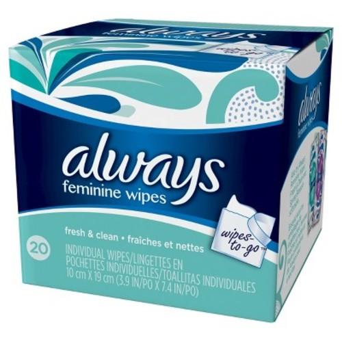 Always Fresh & Clean Feminine Wipes - 20 Count