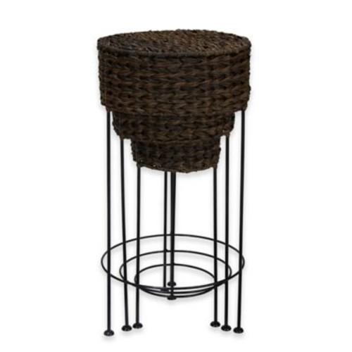 Household Essentials 3-Piece Wicker Round Table Set in Espresso