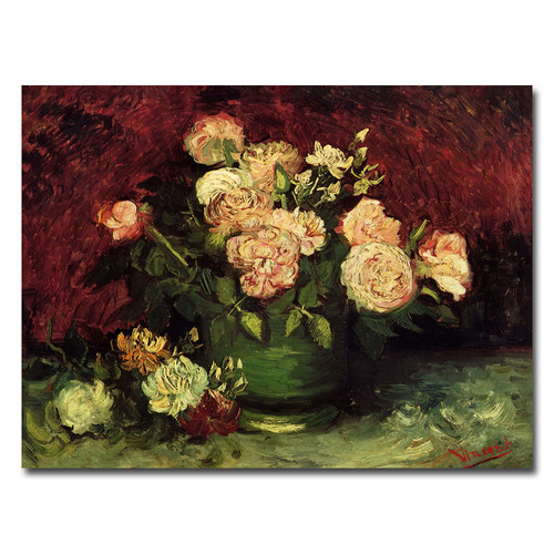 Trademark Global Vincent van Gogh 'Peonies and Roses' Canvas Art [Overall Dimensions : 35x47]
