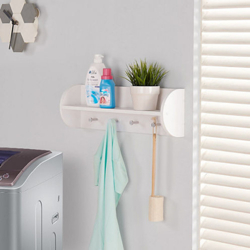 Danya B White Utility Shelf with Four Large Stainless Steel Hooks JCPenney