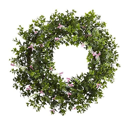 Mini Ivy and Floral Double Ring Wreath with Twig Base