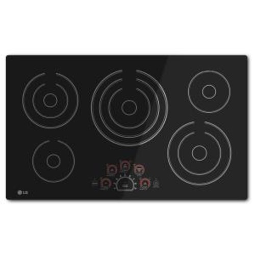 LG Electronics 36 in. Smooth Surface Electric Cooktop in Black with 5 Elements