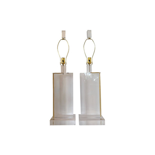 Massive Pair Of Lucite Table Lamps
