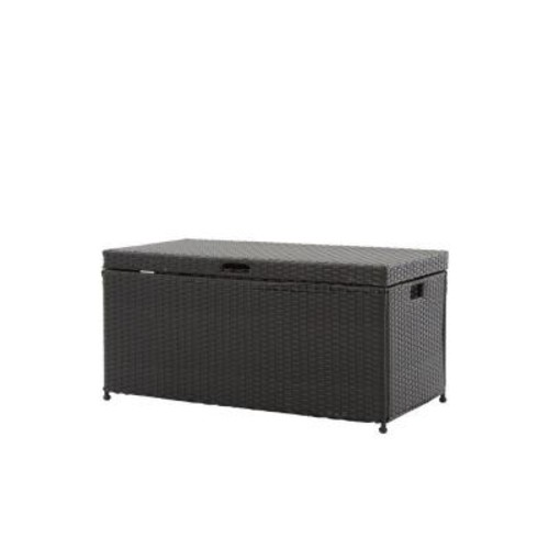 Jeco Black Wicker Patio Furniture Storage Deck Box