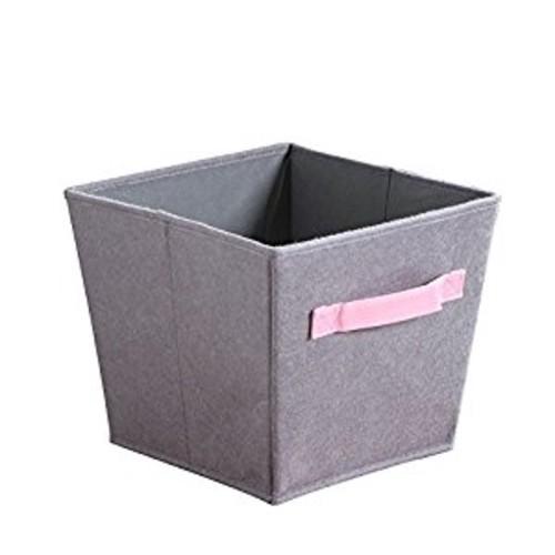 Bintopia 3 Piece Felt Storage Bins, Gray/Pink Handles [Gray/Pink]