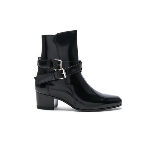 Amiri Buckle Leather Boots in Black Shine