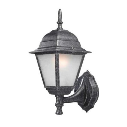 Design Traditional Wall-Mount 14.25 in. Outdoor Faux Stone Lantern with White Frosted Glass