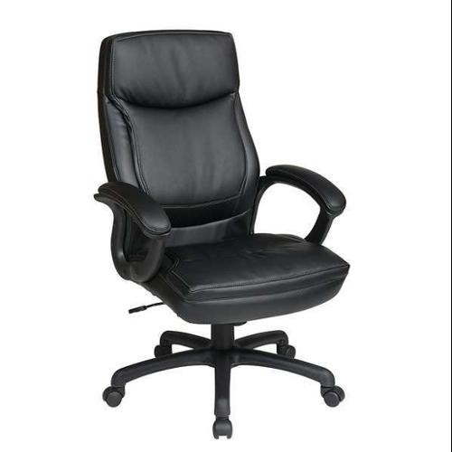 Office Star High Back Thick Padded Contour Seat and Back Eco Leather Executive Chair with Locking Tilt Control with 2-tone Stitching,, Black [Black]