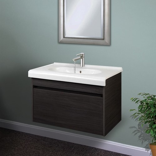 Charcoal Wall Hung 26 inch Wide Vanity Cabinet with Fireclay Basin