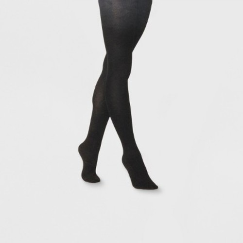 Women's Sweater Tight Flat Knit Solid Tights - A New Day Black