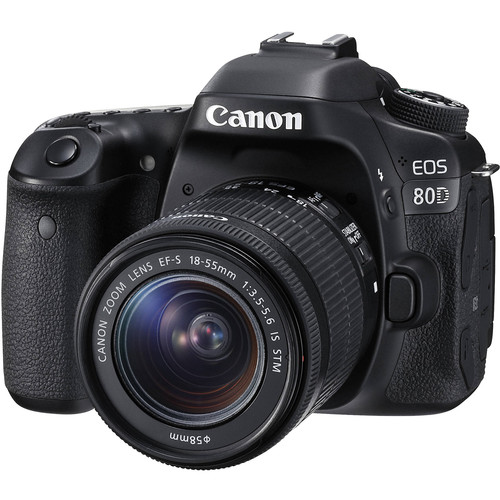 Canon 1263C005-kit-92510 EOS 80D Wi-Fi Camera + EF-S 18-55 IS STM Lens + 64GB Card + Battery + Charger + Backpack + Tripod + Tel