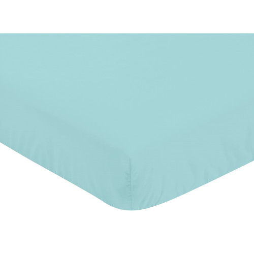 Sweet Jojo Designs Mod Dinosaur Collection Turquoise Blue Microfiber Fitted Crib Sheet