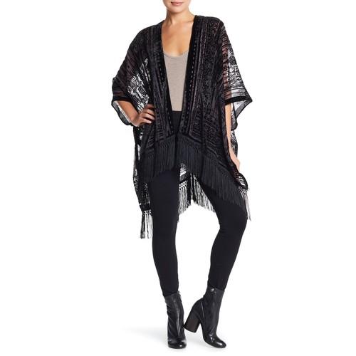 Fringe Velvet Kimono