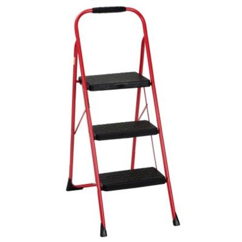 Cosco 3-Step Steel Big Step Folding Step Stool Type 3 with Rubber Hand Grip in Red
