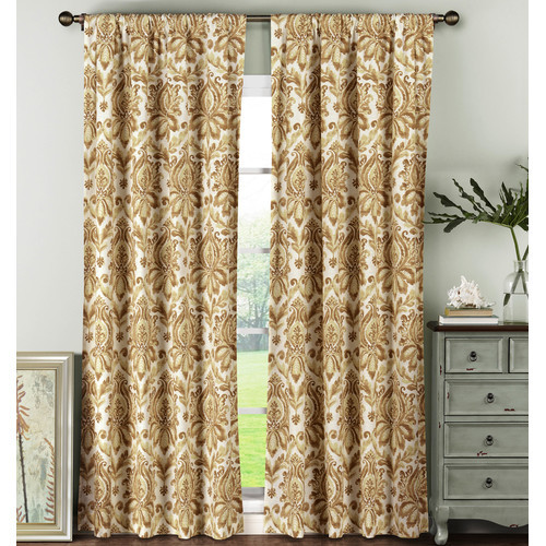 Creative Home Ideas Semi-Opaque Biltmore 100% Cotton Extra Wide 84 in. L Rod Pocket Curtain Panel Pair, Rust (Set of 2)