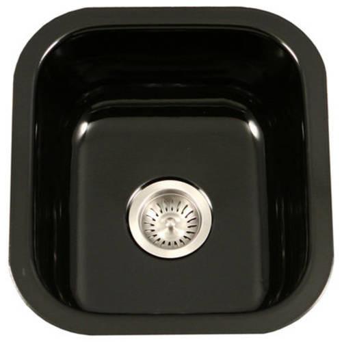 HOUZER Porcela Series Undermount Porcelain Enamel Steel 16 in. Single Bowl Kitchen Sink in Black