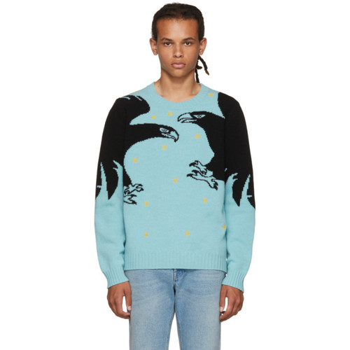 GUCCI Blue 'Loved' Eagle Sweater
