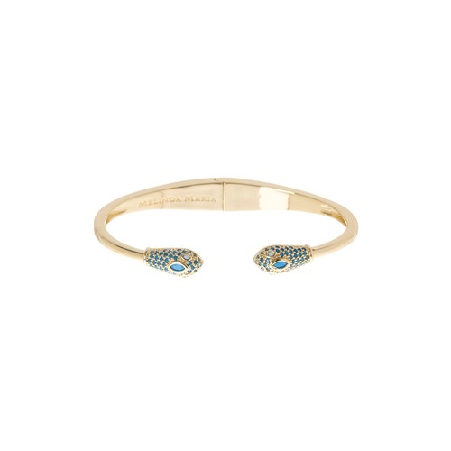 Pave Turquoise Snake End Hinged Cuff Bangle