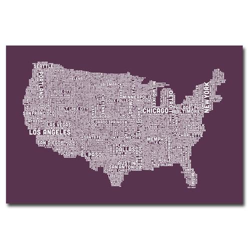 Trademark Global Michael Tompsett 'US City Map IV' Canvas Art