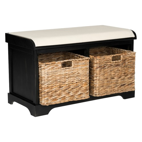 Safavieh Freddy Storage Bench in Distressed Black