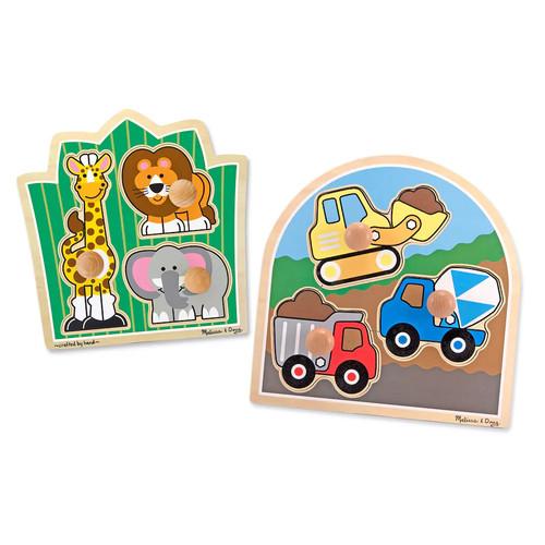 Melissa & Doug Jumbo Knob Puzzle Bundle - Construction and Safari