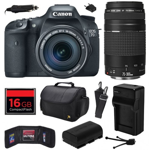 Canon EOS 7D SLR Camera with 18-135mm + 75-300mm III Lens (16GB Value Bundle)