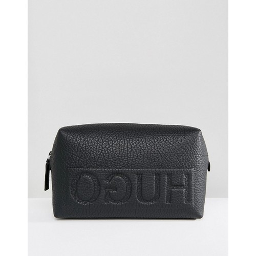 HUGO Victorian Logo Leather Toiletry bag in Black