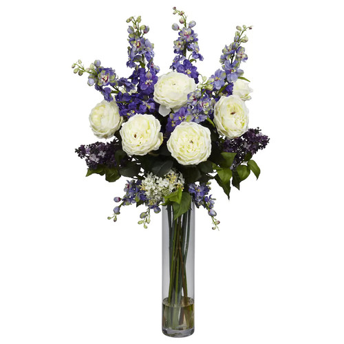 38 in. H Purple Rose, Delphinium and Lilac Silk Flower Arrangement