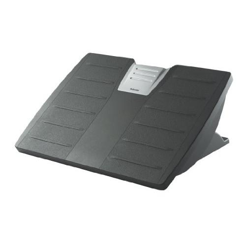 Fellowes 8035001 Adjustable Locking Footrest w/Microban, 17 1/2 x 13 1/8 x 5 5/8, Black/Silver