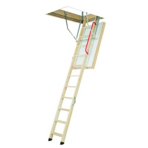 Fakro LWT 7 ft. 8 in. - 10 ft. 1 in., 30 in. x 54 in. Super-Thermo Wooden Attic Ladder with 300 lbs. Load Capacity