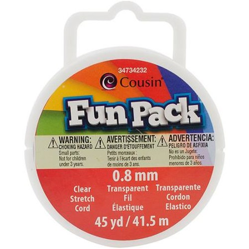 Fun Pack Stretch Cord Spool, .8mm, 45 yds, Clear