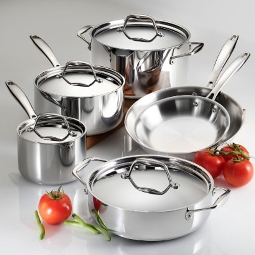 Tramontina Gourmet Tri-Ply Clad 18/10 Stainless Steel Induction-Ready 10-piece Cookware Set - Online Only