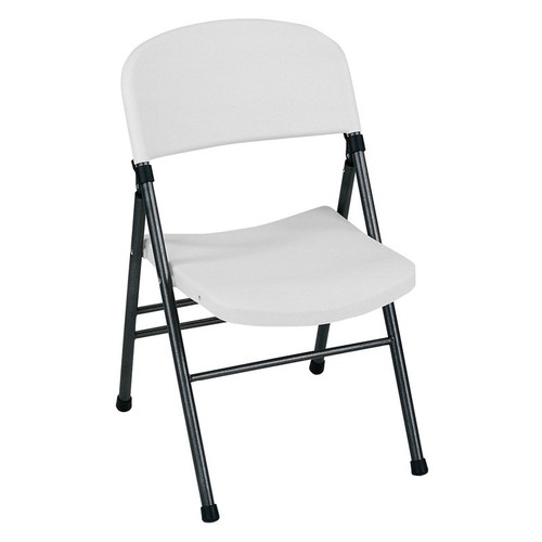 Cosco Commercial Molded Resin Folding Chair - White Speckle with Pewter Frame - Set of Four