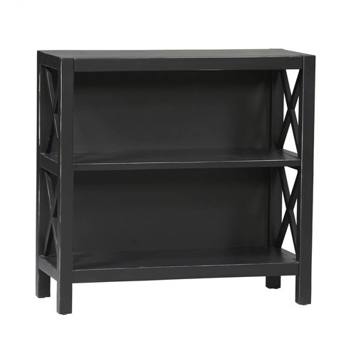 Linon 2 Shelf Bookcase in Antique Black Finish