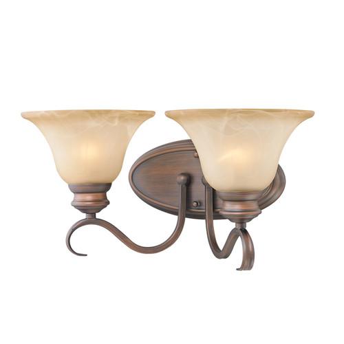 Golden Lighting #6005-BA2 RBZ Lancaster Rubbed Bronze Steel and Antique Marbled Glass 2-light Bath Vanity Light Fixture
