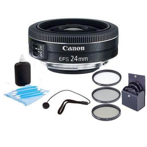 Canon EF-S 24mm f/2.8 STM Wide Angle Lens. Accessory Bundle. Value Kit #9522B002 9522B002 A