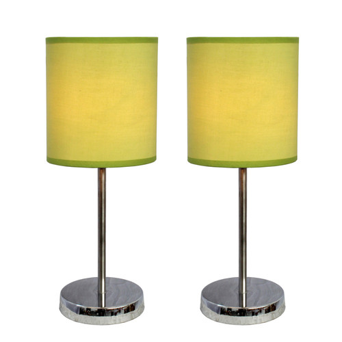 Simple Designs Chrome Mini Basic Table Lamp with Fabric Shade 2 Pack Set Green