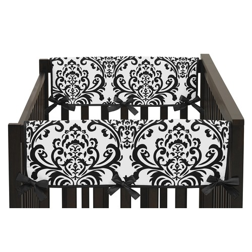 Sweet Jojo Designs Set of 2 Side Crib Rail Guard Covers for Hot Pink, Black and White Isabella Collection by - Damask Print