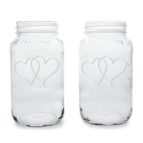 Two Hearts 26-ounce Mason Jars (Set of 2)