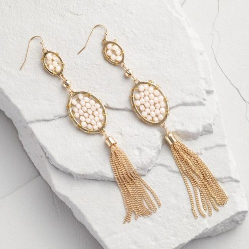 Gold and Champagne Beaded Statement Earrings