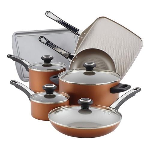 Farberware High Performance Copper Finish Nonstick Aluminum 17-Piece Cookware Set with $10 Mail-in Rebate