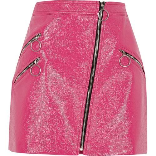 Pink vinyl hoop zip mini skirt