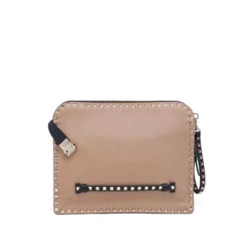 VALENTINO Studded Calf Leather Pouch
