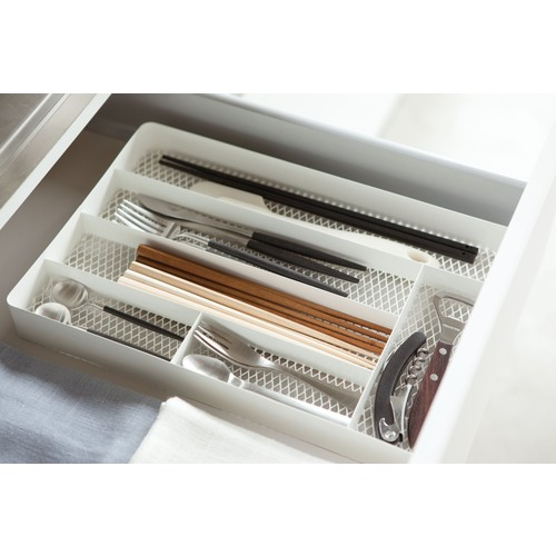 Tower Mesh Cutlery Drawer Organizer in Various Colors design by Yamazaki - White