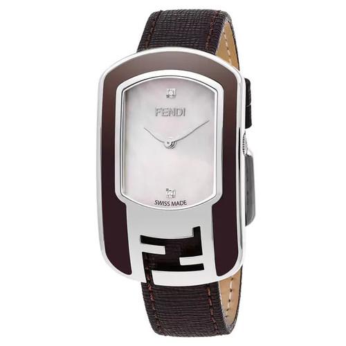 Fendi Women's F312034521D1 'Chameleon' Mother of Pearl Diamond Dial Brown Leather Strap Swiss Quartz Watch - Women's
